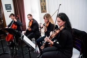 Wedding ceremony with violin viola cello string quartet los angeles at vibiana wedding ceremony