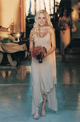 Tan bridesmaid dress and matching shawl