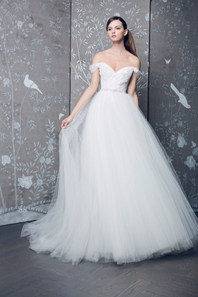 Legends Romona Keveza Fall 2018 collection lace off the shoulder ball gown with flowers