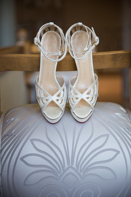 Charlotte Olympia wedding shoes with peep toe and ankle strap