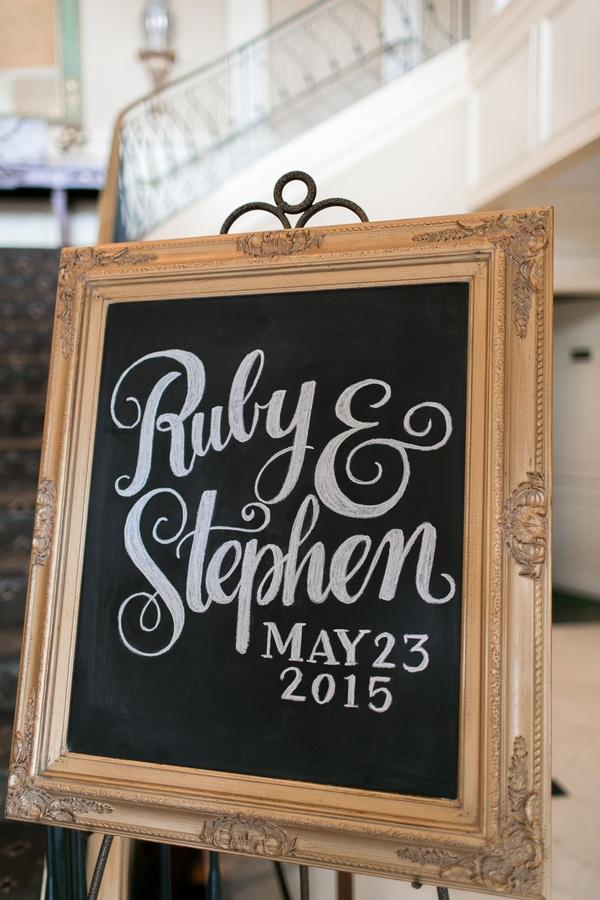 Wedding reception chalboard sign in decorative