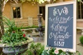 Wedding ceremony framed welcome sign chalkboard with calligraphy modern wedding date and monogram
