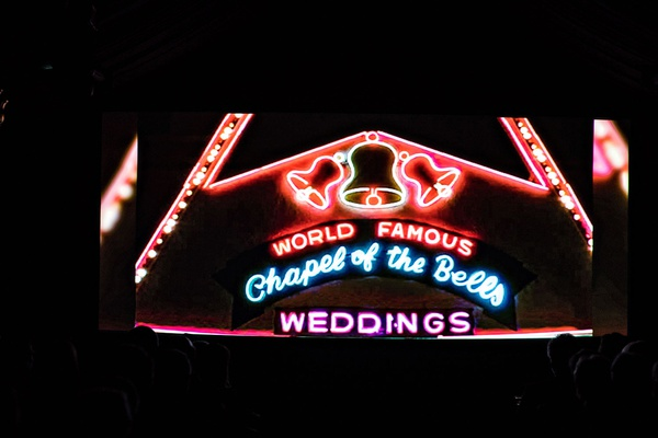wedding neon sign photo in 50 anniversary wedding video elopement las vegas elope