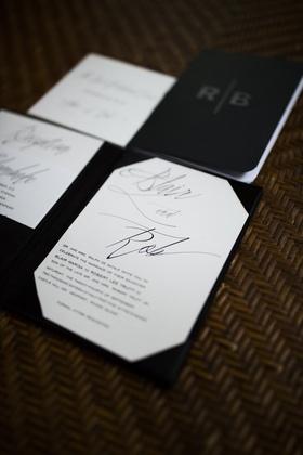 hard back black and white wedding invites initials monogram rhode island classic palette