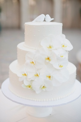 three-tier wedding cake with orchids, 3D polka dots, lovebird cake toppers