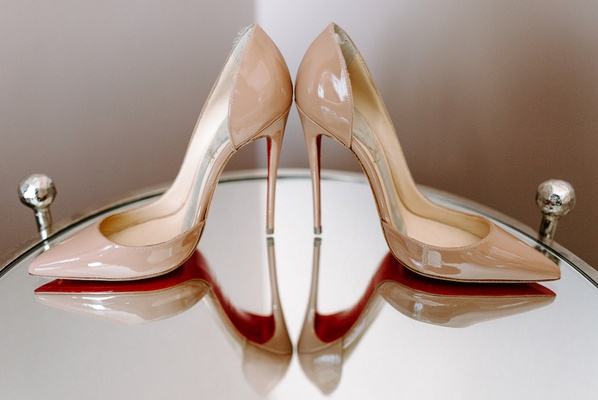 nude wedding heels christian louboutin red sole bottoms on mirror table wedding patent leather