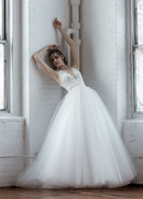 Isabelle Armstrong Fall 2018 bridal collection tulle ball gown with v neckline and embroidery