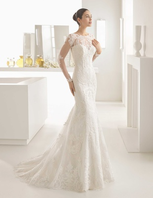 988cbfe9a5d Rosa Clara Bridal Olaf wedding dress long sleeve illusion lace column boat  neckline.
