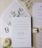 wedding invitation suite greenery envelope liner sage letterpress invitation laurel wreath design