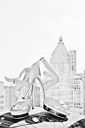 Black and white photo of platform Jimmy Choo