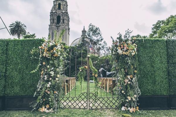 Secret garden entrance to wedding ceremony