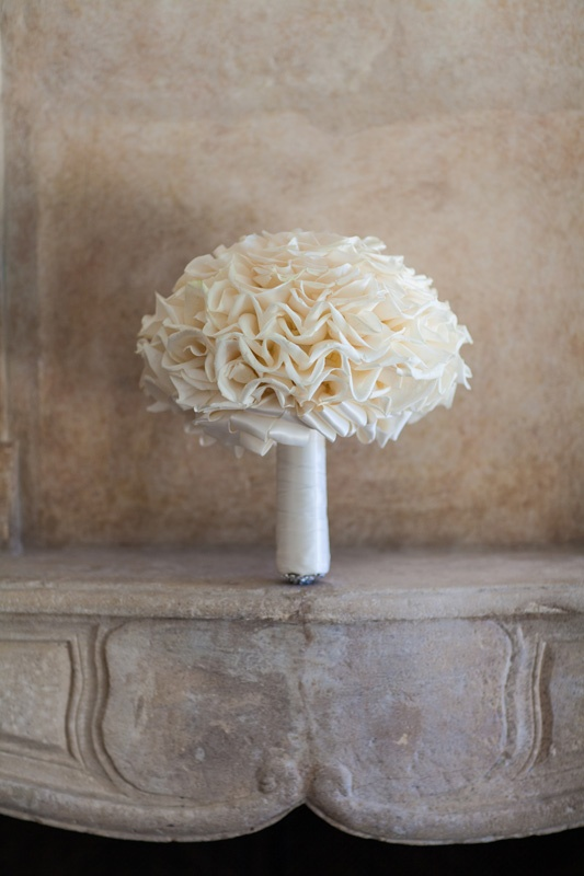 White glamelia wedding bouquet with white ribbon