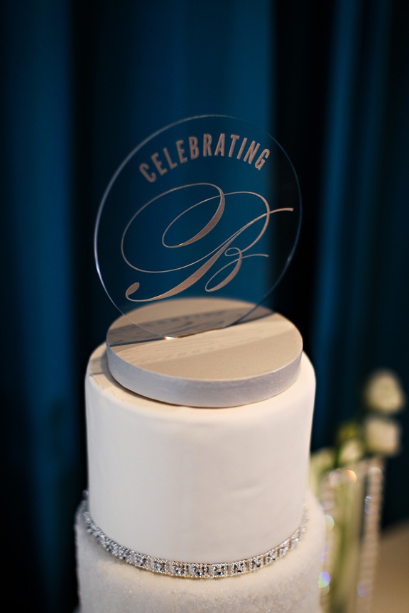 Silver writing on clear cake topper Showers