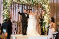 bride and groom jewish wedding floral canopy