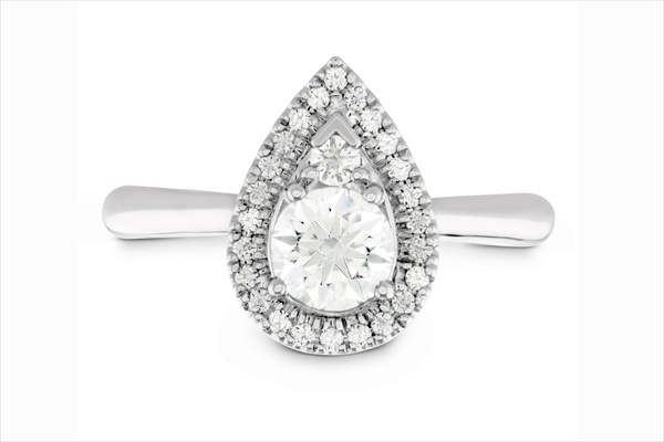 Hearts On Fire faux teardrop shape diamond ring with halo and simple polished band