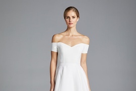 Anne Barge Spring 2019 collection off the shoulder organza gown with short sleeves