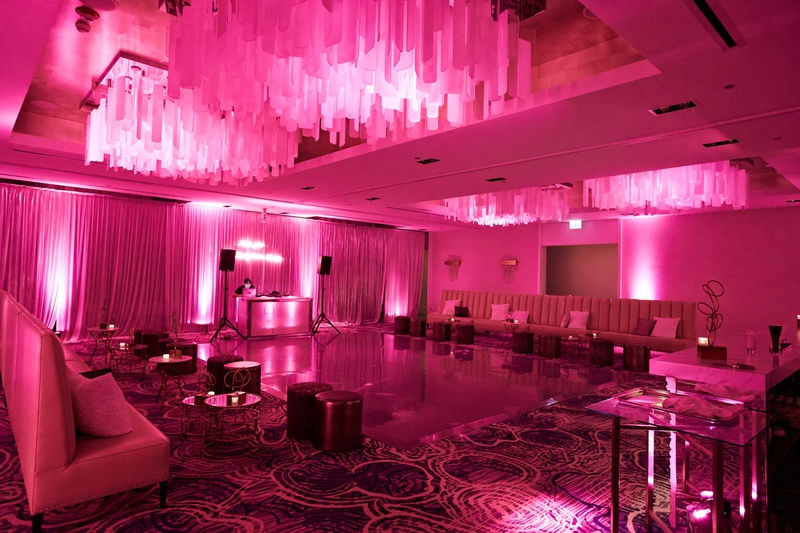 wedding reception after party separate ballroom bright pink lighting white furniture miami nightclub