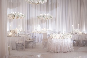 White on white reception at Pelican Hill Resort
