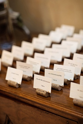 Wedding place card table with faux wine cork place card holders