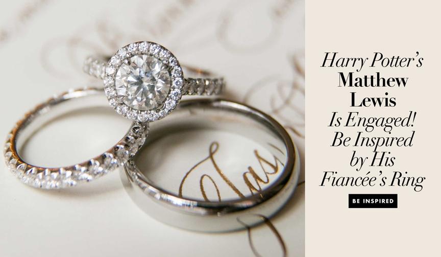 Harry Potter actor Neville Longbottom Matthew Lewis is engaged to Angela Jones halo engagement ring