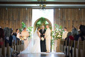 new york jets brian winters wedding, groom in tan suit, bride in pronovias wedding dress, barn