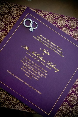 Indian Floral Motif On Purple And Gold Envelope Diamond Ring Eternity Band Wedding Invite