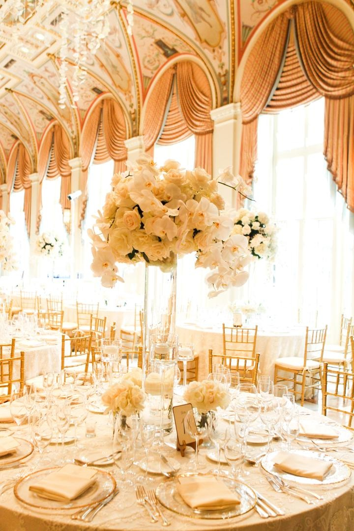 mediterranean themed ballroom decorated in neutral color palette