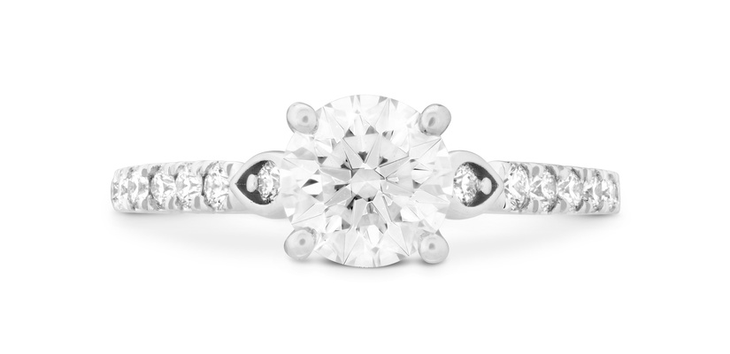 Hearts On Fire diamond engagement ring Petal with side detailing round center stone