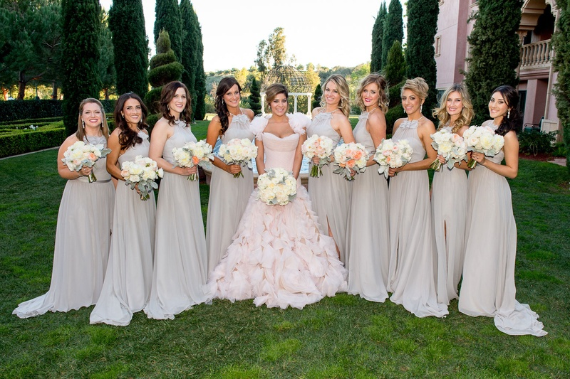 Bride In Pink Ruffle Mark Zunino Wedding Dress Bridesmaids High Neck Grey Bridesmaid
