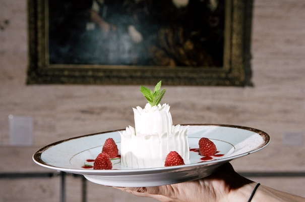 Celebration cakes with strawberries and mint