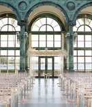 Henry Morrison Flagler Museum wedding ceremony lucite chairs and arch white pink flower petals