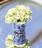 blue and white wedding décor, southern-inspired wedding vase with white flowers ginger jar