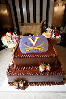 Virginia Cavaliers groom's cake purple logo chocolate covered strawberries chocolate cake
