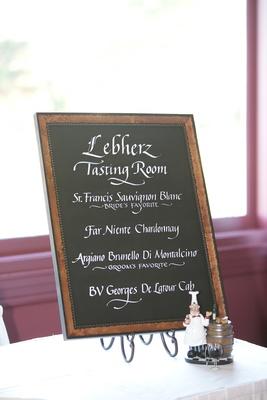 rustic chalkboard wine list menu at wedding cocktail hour