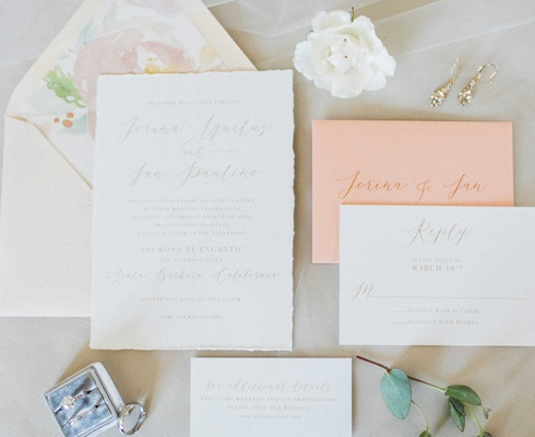 peach wedding invitation envelope gold calligraphy torn raw edge paper invitation watercolor flower