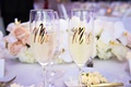 "wedding champagne flutes with ""mr. and mrs"" in gold"