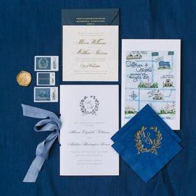 wedding invitation with laurel wreath monogram painted map napkins gold monogram