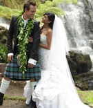 Angus Mitchell, co-owner of John Mitchell Systems, in a kilt with his bride at Hawaiian wedding