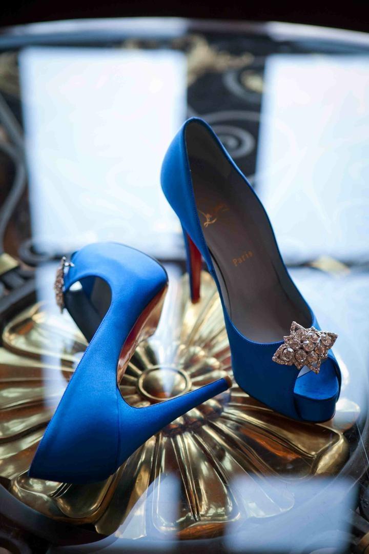 Shoes Bags Photos Bride 39 S Sapphire Blue Louboutin Heels