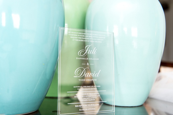 clear wedding invitation chicago details glass plastic couple museum contemporary art