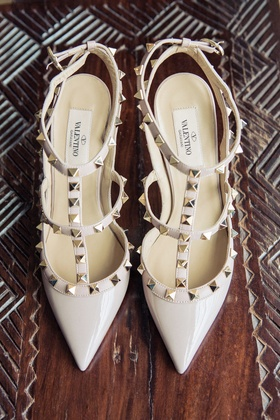 Valentino stud strappy pumps for bride at reception