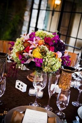 Tuscan-inspired wedding reception centerpiece