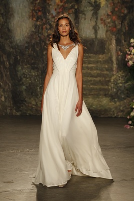 """Draped """"luciana"""" gown with v-neck and jeweled necklace by jenny packham"""