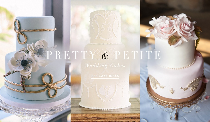 Browse inspiring wedding cakes that are small in size but large in style.