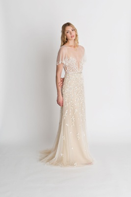 "Alexandra Grecco fall winter 2018 ""The Magic Hour"" wedding dress Palma illusion flutter sleeve beads"