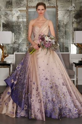 Romona Keveza Luxe Collection Bridal one shoulder ball gown with purple 3d flower print appliques