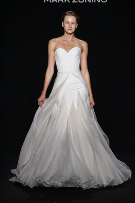 Mark Zunino for Kleinfeld 2016 strapless wedding dress with layered organza skirt