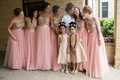 pink bridesmaids dresses, champagne, gold flower girl dresses