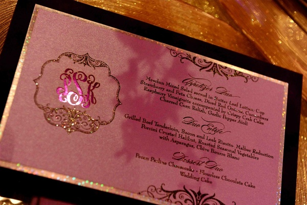 Menu card with monogram and black border