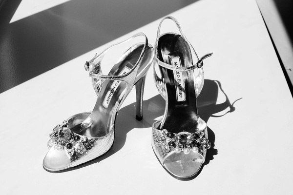 Black and white photo of Manolo Blahnik shoes